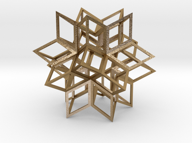 Rhombic Hexecontahedron, Open in Polished Gold Steel