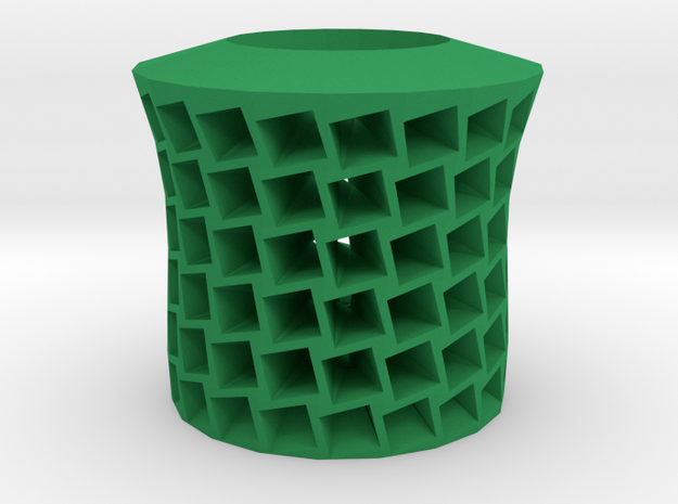 Square holes vase in Green Processed Versatile Plastic