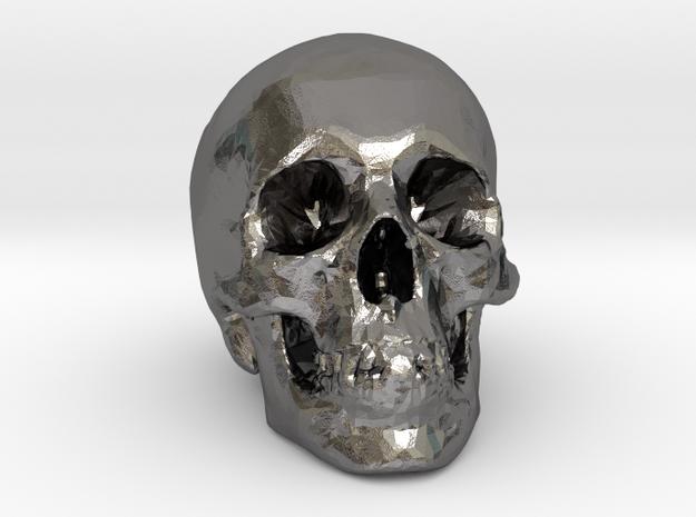 Skull Desk Ornament in Polished Nickel Steel: 1:20