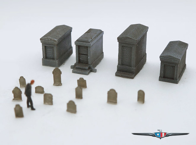N Scale (1:160) Cemetery 3d printed N Scale Graveyard (92 piece set), figure not included