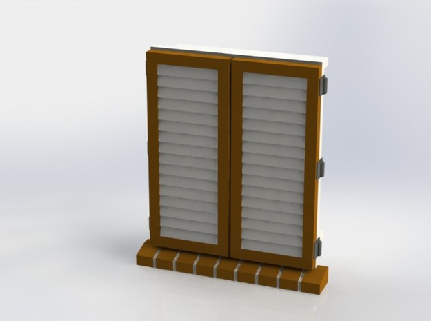 Shutters Set 02  closed in White Natural Versatile Plastic