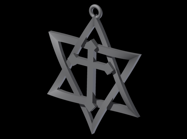 Star Of David With Cross 3D Weave 3d printed