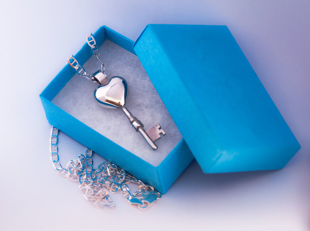 The key to a heart, 004 3d printed 925 Sterling Silver Pendant, with a hand polished glossy finish, chain not included