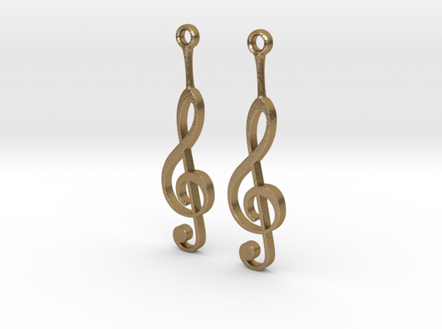 Musical Staff Earings in Polished Gold Steel