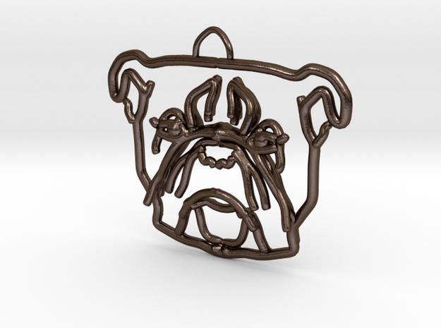 American Bulldog Pendant in Polished Bronze Steel