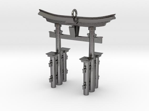 Torii Gate Pendant / Keychain in Polished Nickel Steel