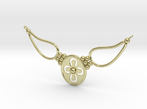 pendant with flower ET in 18k Gold Plated Brass