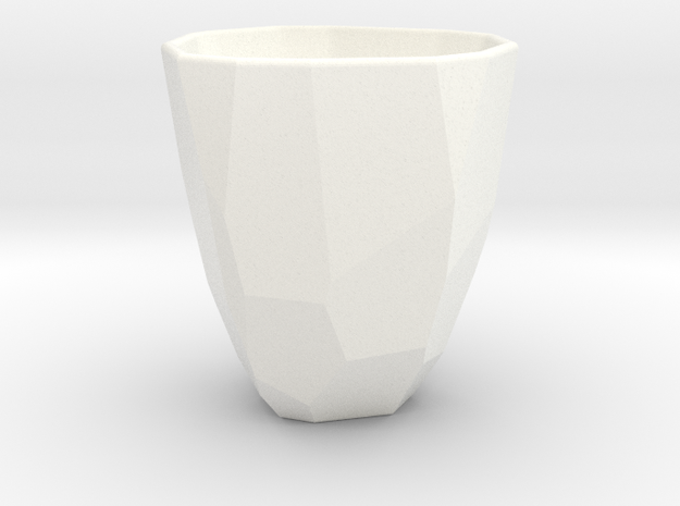 Polygon / Faceted cup in White Strong & Flexible Polished
