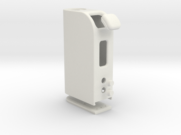 Box Mod With Dual 18650 Pack & DOOR & Buttons in White Natural Versatile Plastic