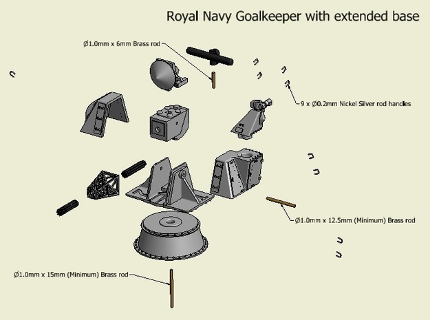 CIWS Goalkeeper kit, standard base x 2 - 1/96 3d printed