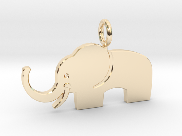 Elephant pendant in 14k Gold Plated Brass