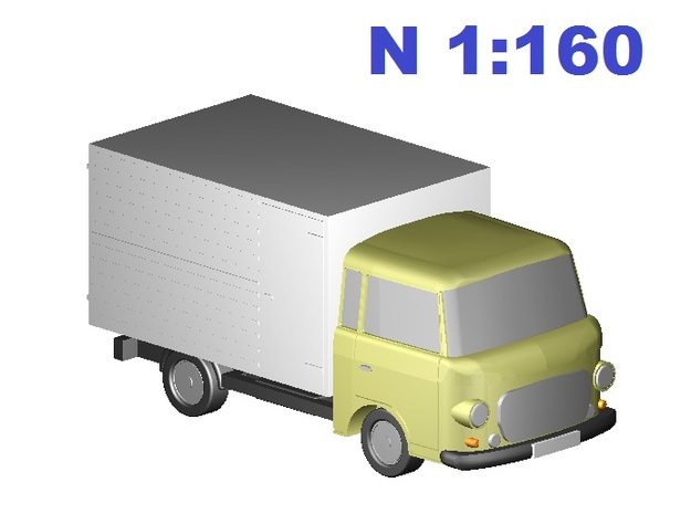 Barkas Koffer/box (N, 1:160) in Smooth Fine Detail Plastic