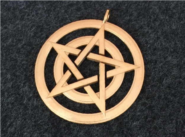 Pentacle Pendant - Circles 3d printed The circled pentacle in 14k gold plated. It's the first piece I printed in gold-plated brass, and I think it looks wonderful.