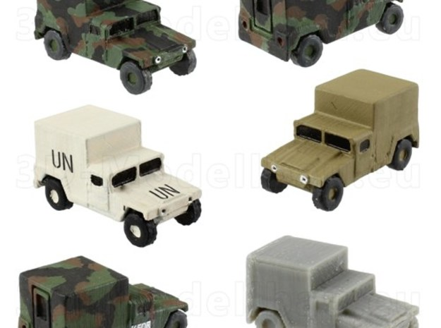 1/220 US Army M1037 Shelter Humvee HMMWV in White Natural Versatile Plastic