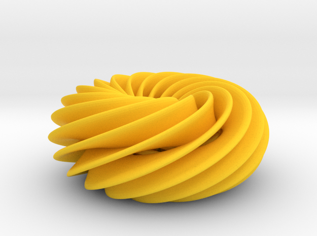 Spiral Torus No2 in Yellow Processed Versatile Plastic