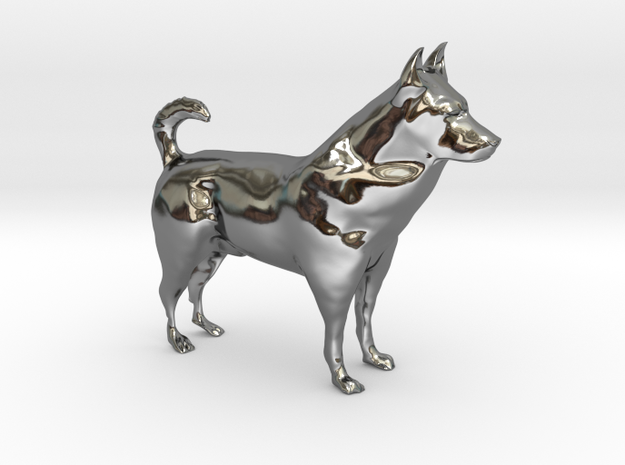 "Shepherd Dog - 5 cm / 2"" in Fine Detail Polished Silver"