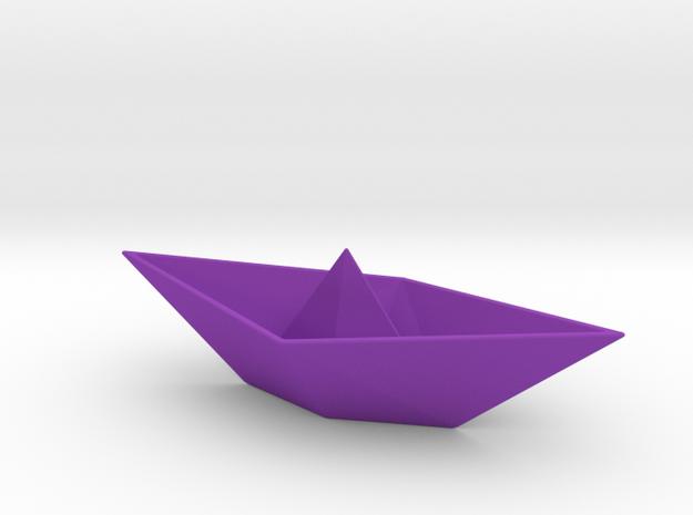 Origami Boat in Purple Processed Versatile Plastic