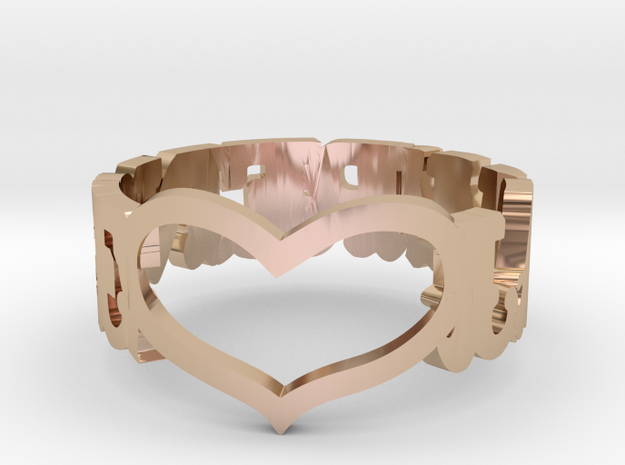 LAWRENCE HEART RING in 14k Rose Gold Plated Brass