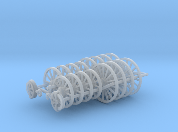 Wagon Wheels Assorted HO scale x16 (plus pulleys) in Smooth Fine Detail Plastic