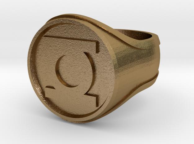 Green Lantern Ring Alt in Polished Gold Steel
