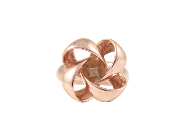 Knot Ring Size 7 in 14k Rose Gold Plated Brass
