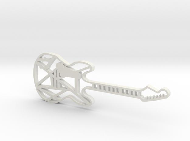 Guitar Pendant in White Strong & Flexible