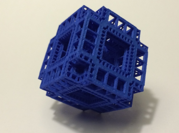 MengerKoch Fractal Cube 3d printed Blue Strong and Flexible Polished