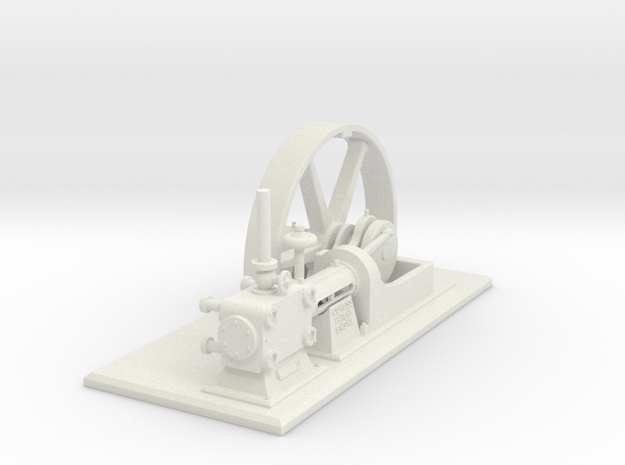 Corliss Engine with Flywheel in White Natural Versatile Plastic