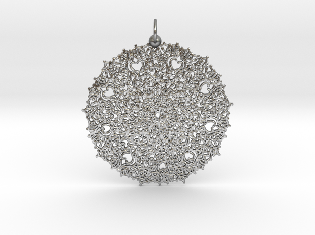 Heart Mandala Pendant in Natural Silver