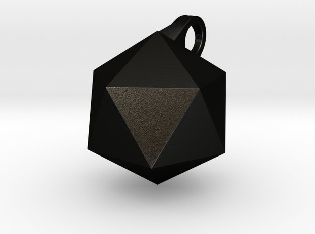 Icosahedron - Pendant in Matte Black Steel