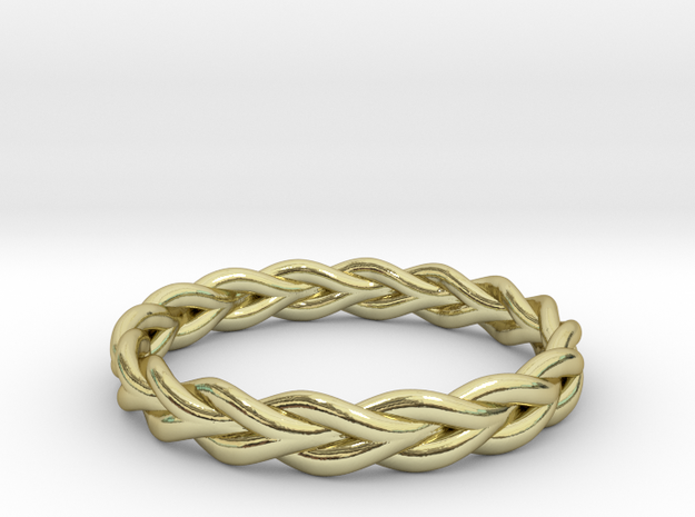 Ring of braided rope - size 8 in 18k Gold Plated Brass