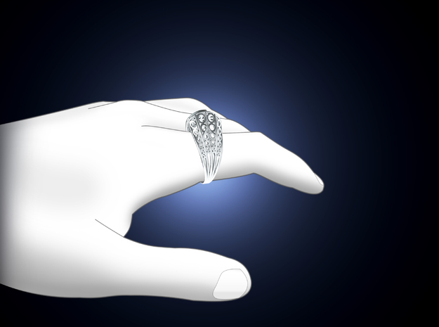 Knights Wire Ring - Sterling Silver 3d printed Context Render
