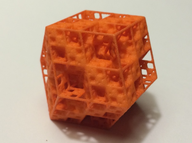 Koch Rhombododecahedron 3d printed Orange Strong & Flexible Polished