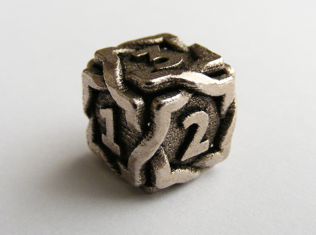 'Twined' Dice D6 Gaming Die in Polished Bronzed Silver Steel