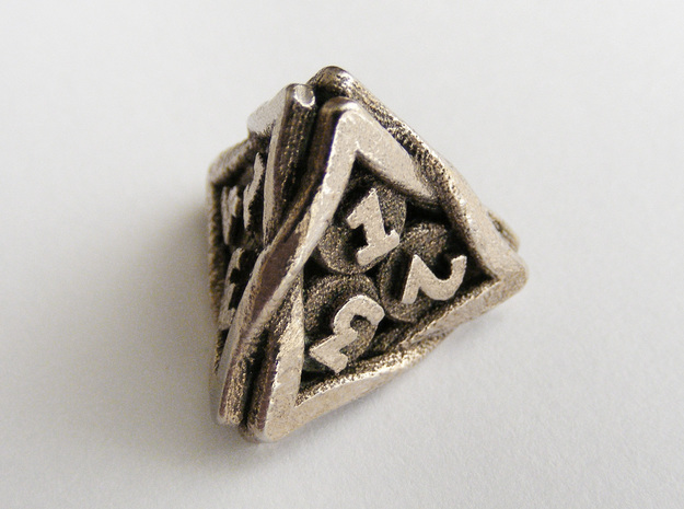 'Twined' Dice D4 Gaming Die in Polished Bronzed Silver Steel