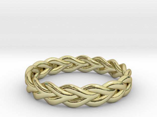 Ring of braided rope - size 4 in 18k Gold Plated Brass