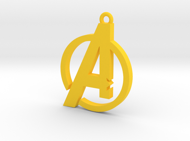 Avengers Pendant in Yellow Processed Versatile Plastic