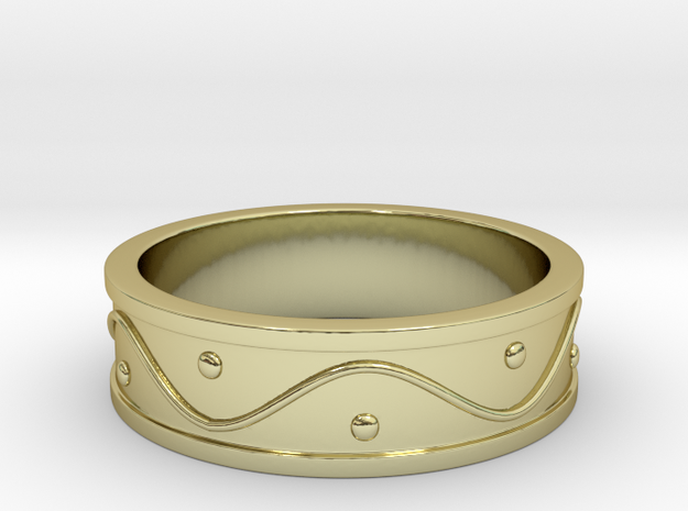Ring Dots and Wave - Size 8 in 18k Gold Plated Brass