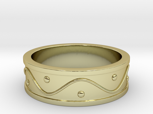 Ring Dots and Wave in 18k Gold Plated