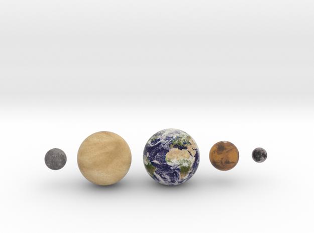 Mercury, Venus, Earth, Moon & Mars to scale v.2