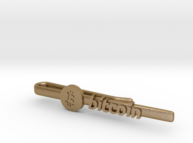 Bitcoin Tie Clip in Polished Gold Steel