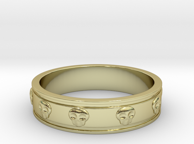 Ring with Skulls - Size 9 in 18k Gold Plated Brass