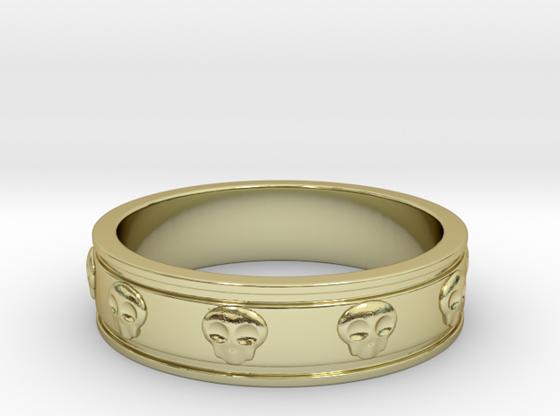 Ring with Skulls - Size 7 in 18k Gold Plated Brass