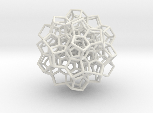 120-Cell Stereographic Projection, Partial in White Natural Versatile Plastic