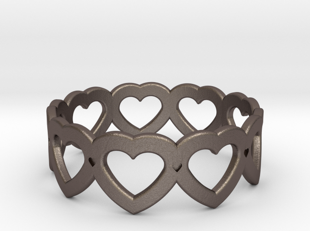 Heart Ring - Size 7 in Polished Bronzed Silver Steel
