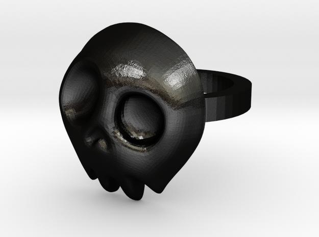 Comic Skull Ring in Matte Black Steel
