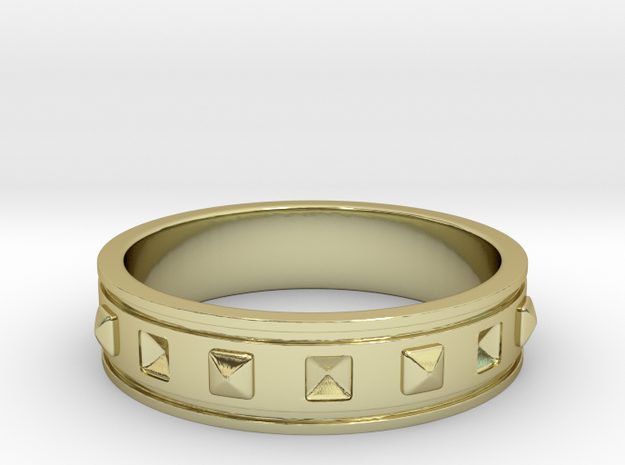 Ring with Studs - Size 8 in 18k Gold Plated Brass