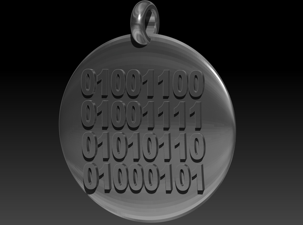 Binary LOVE Pendant 3d printed