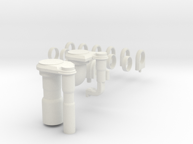 3d Shuttle Fuel Line Fitting in White Natural Versatile Plastic