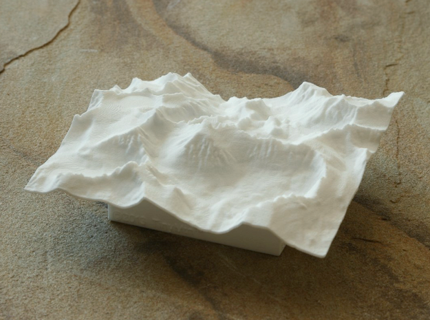 4'' Mt. Whitney Terrain Model, California, USA 3d printed View of actual model, from West, showing the many crags and spires along the ridge